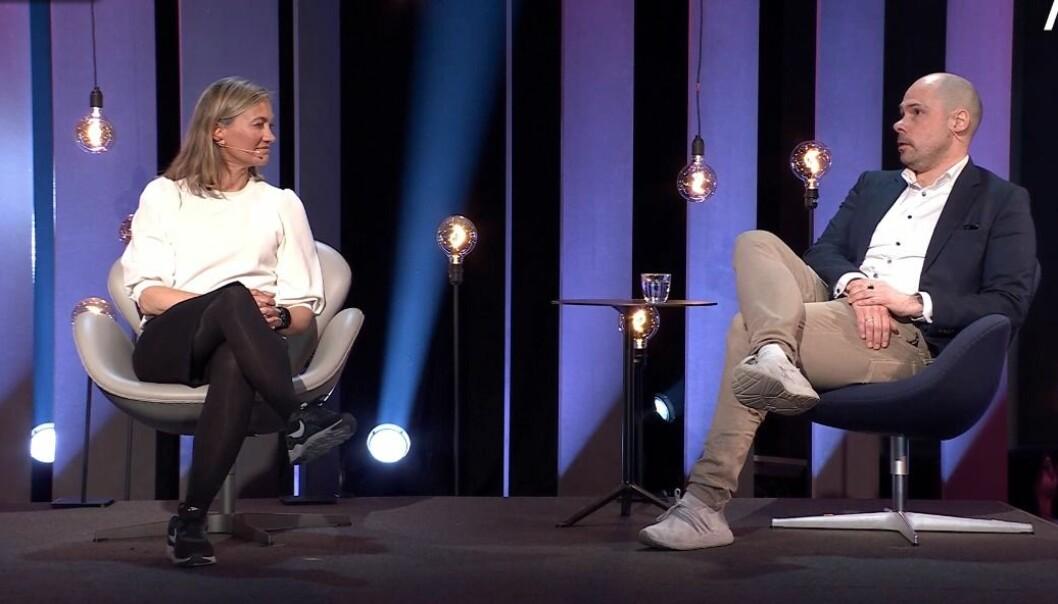 Siv Juvik Tveitnes, administrerende direktør for Schibsted News Media og Anders Opdahl, konsernsjef i Amedia debatterte sammen med Per Axel Koch, konsernsjef i Polaris Media.