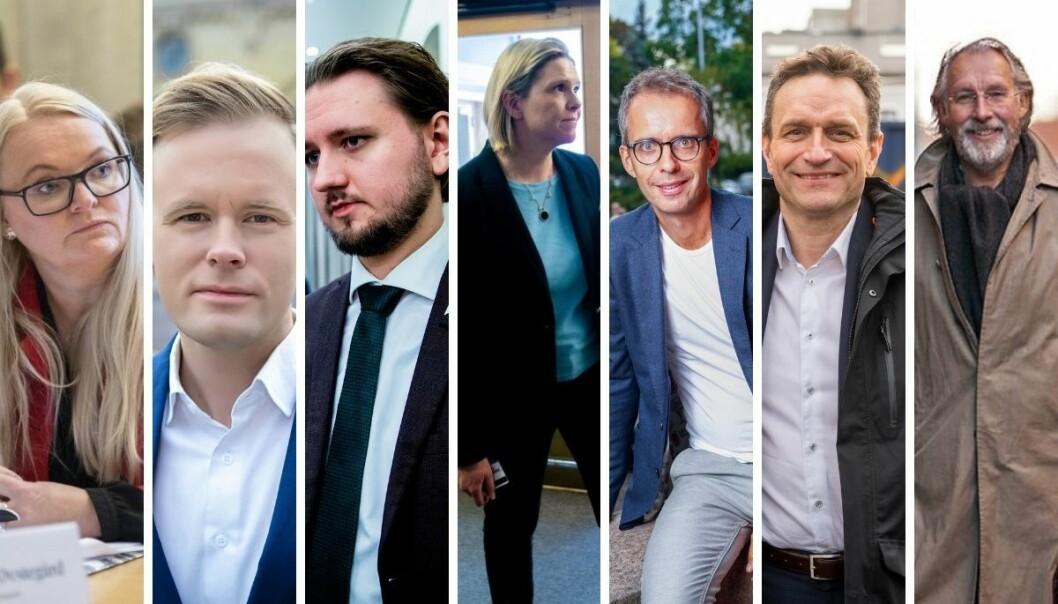 Aslaug Sem-Jacobsen i SP, Cato Husabø Fossen i Høyre, Freddy Andrè Øvstegård i SV, Sylvi Listhaug i FrP, Jarle Roheim Håkonsen i AP, Arild Hermstad i MDG, og Carl-Erik Grimstad i Venstre.