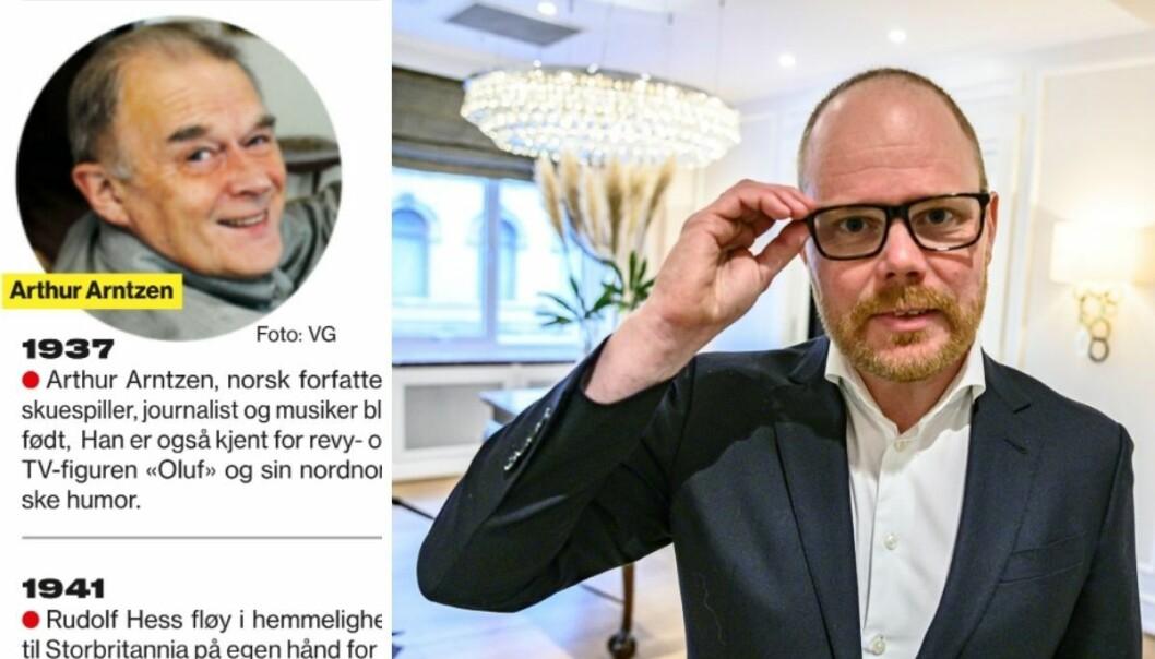 Ansvarlig redaktør Gard Steiro beklager etter avisen skrev at Arthur Arntzen var død.