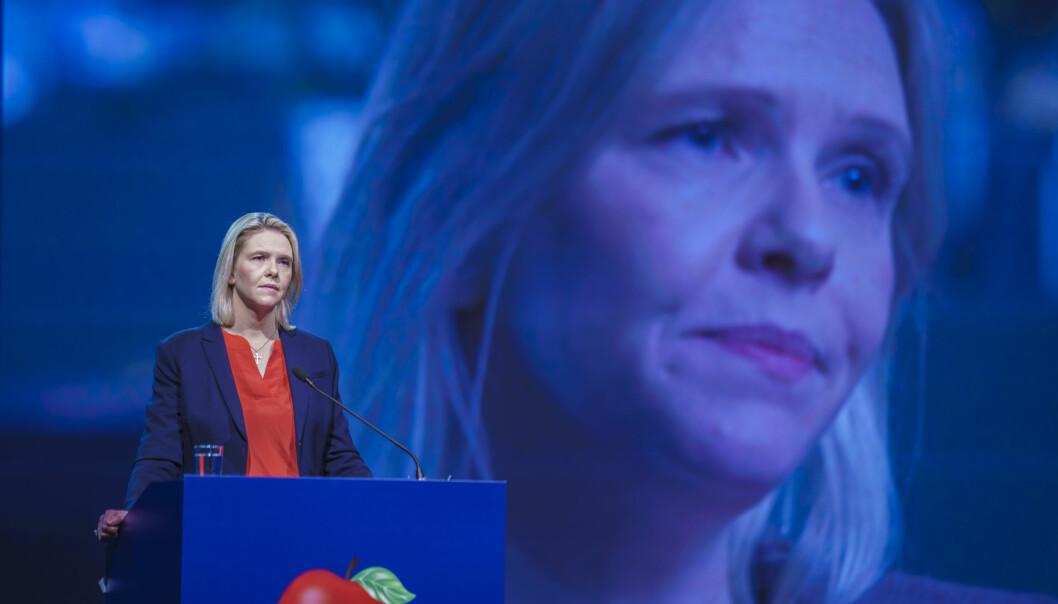Sylvi Listhaug, partileder i Frp, under det digitale landsmøtet på Gardermoen. Foto: Stian Lysberg Solum / NTB