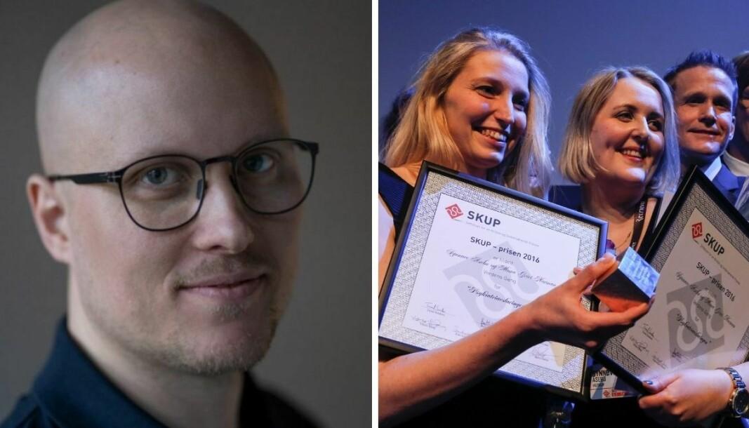 Andreas Ryen Eidem (til venstre) skriver om SKUP-prisen - her representert ved vinnerne i 2017, Mona Grivi Norman (t.v.) og Synnøve Åsebø i VG.