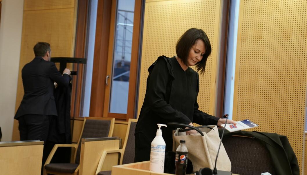 Line Andersen avbildet i Oslo tingrett under rettssaken i forrige uke.
