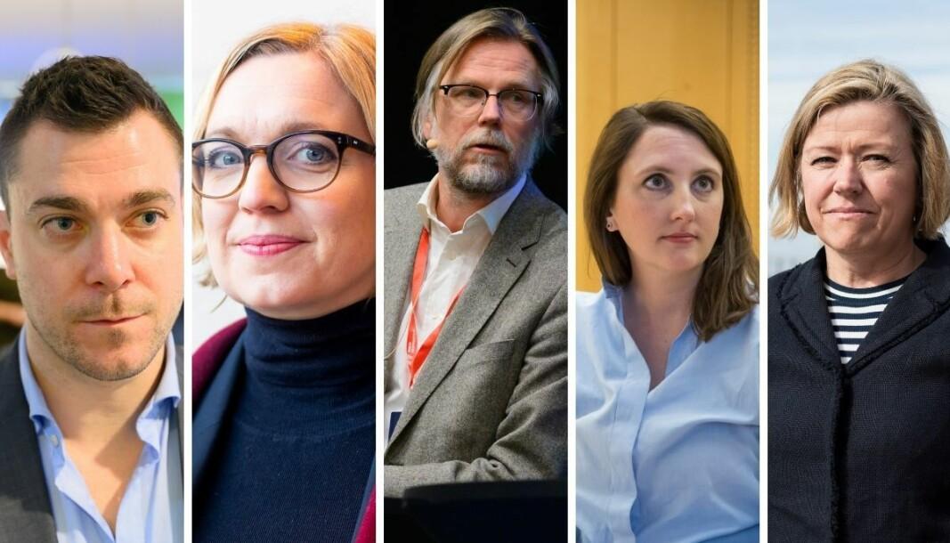 Disse avisene har alle omtalt vaksineringen av stortingspolitikere. Fra venstre: Jan Thomas Holmlund (Dagbladet), Sarah Sørheim (NTB), Kyrre Nakkim (NRK), Hanne Taalesen (Avisa Oslo og Tone Strøm-Gundersen (Aftenposten).