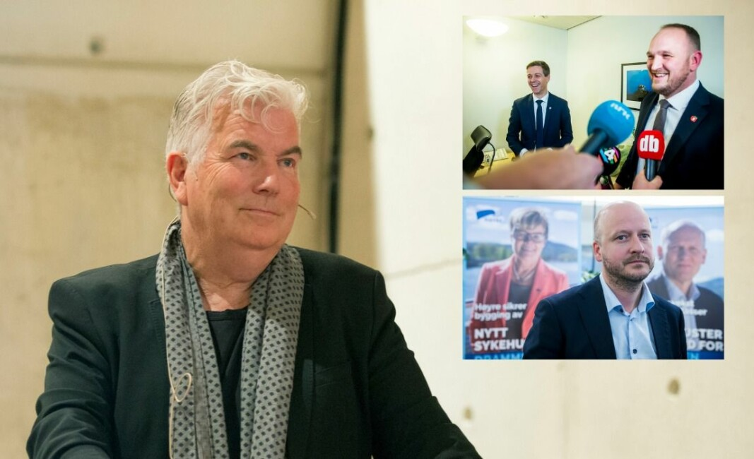 Mangeårig Dagbladet-journalist Gunnar Ringheim, Jon Georg Dale (Frp) og Sigbjørn Aanes i First House.