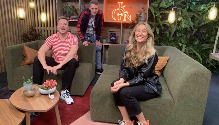Martin Habbestad sammen med Niklas Baarli og Marte Bratberg i God kveld Norge-studioet.