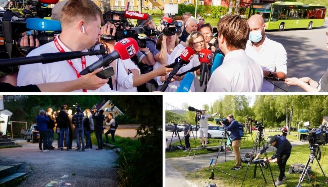 Pressen var på plass både før og etter Viggo Kristiansen ble løslatt fra Ila fengsel, samt utenfor familiens hjem i Kristiansand.