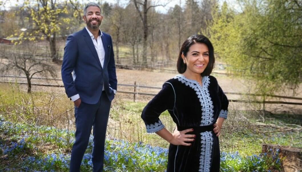 Rima Iraki og Yousef Hadaoui ledet feiringen av Id i programmet «Festen etter fasten». FOTO: OLE KALAND / NRK