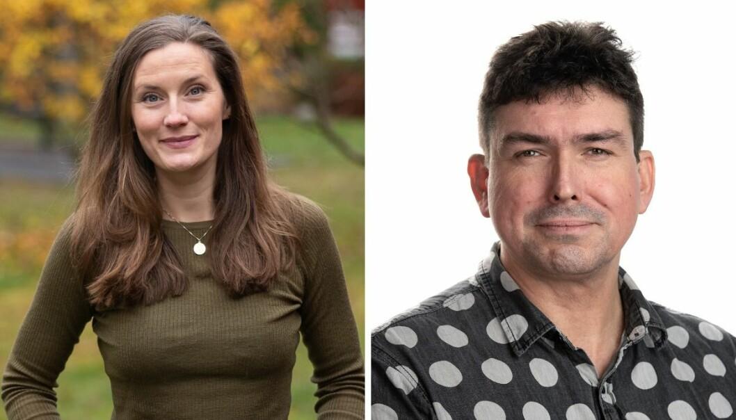 Avdelingsleder for lyd i Aftenposten, Karoline Fossland, og gravejournalist og researcher i Aftenposten, Trond J. Strøm.