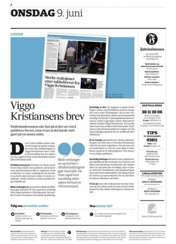 Faksimile fra Fædrelandsvennens lederartikkel.