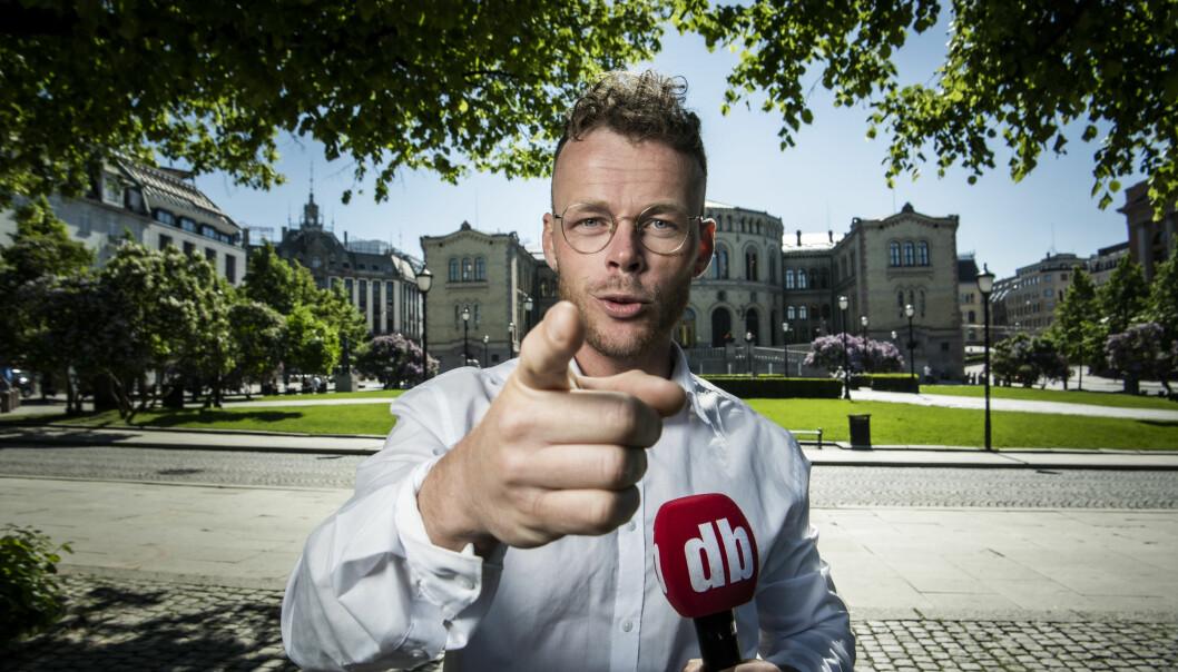 Valg 2021: Steinar Suvatne i Spikersuppa, foran Stortinget. Foto: Lars Eivind Bones / Dagbladet