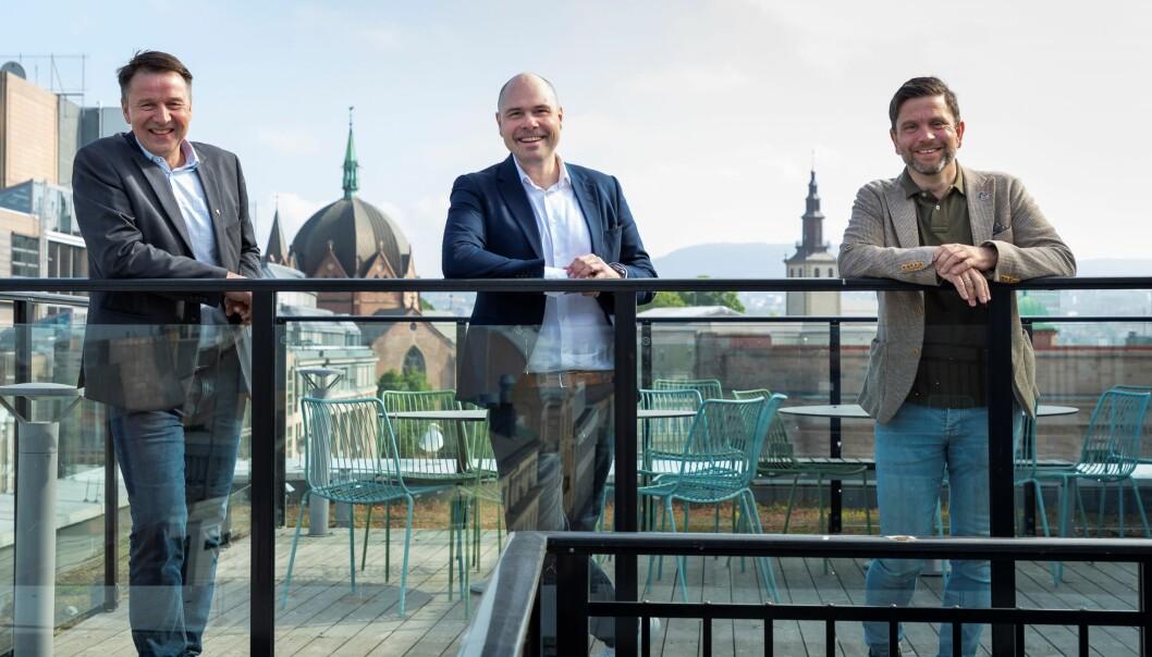 Leder i Norges Bondelag, Lars Petter Bartnes, konsernsjef i Amedia, Anders Møller Opdahl, og konserndirektør strategi, rammevilkår og kommunikasjon i Nortura, Kjell Rakkenes