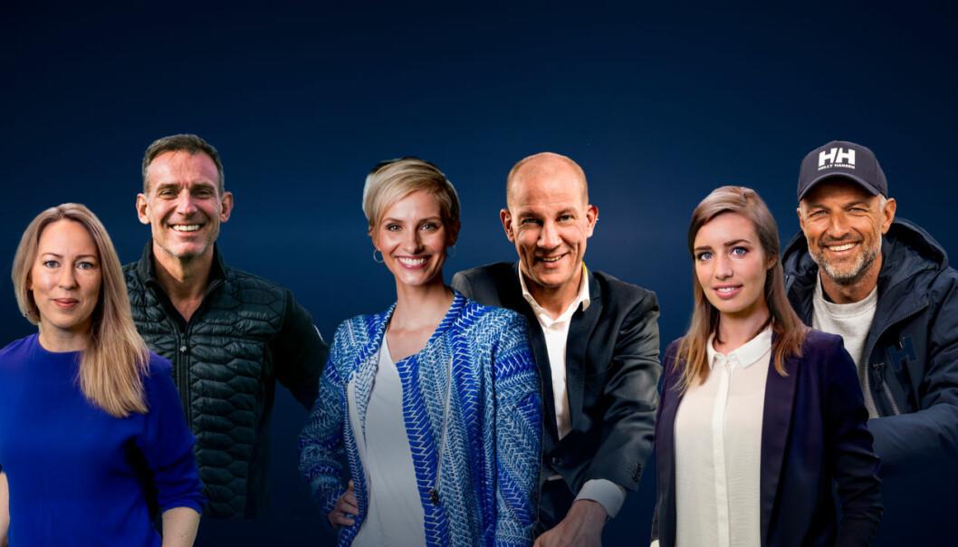 Dette er OL-profilene på Discoverys kanaler: Anne Sturød (fra venstre), Carsten Skjelbreid, Anne Rimmen, Henrik Elvestad, Susanne Jørstad Wergeland og Tom Stiansen.