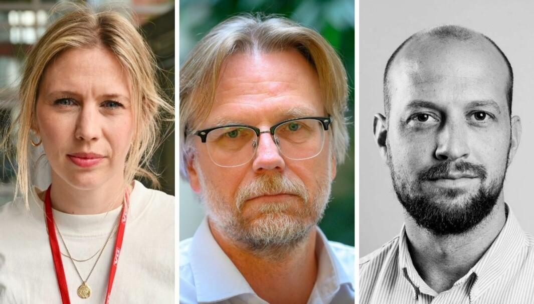 Eva-Therese Grøttum (VG), Kyrre Nakkim (NRK) og Simen Tallaksen (Klassekampen).