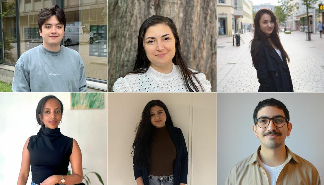 Disse seks blir stipendiater i NRK FleRe. Øverst fra venstre: Jan Sarzuelo Dydland, Nareen Mizoory og Balsharan Kaur. Nederst fra venstre: Tsion Bruk, Roza Bawan og Jonathan Al-Saqqa.