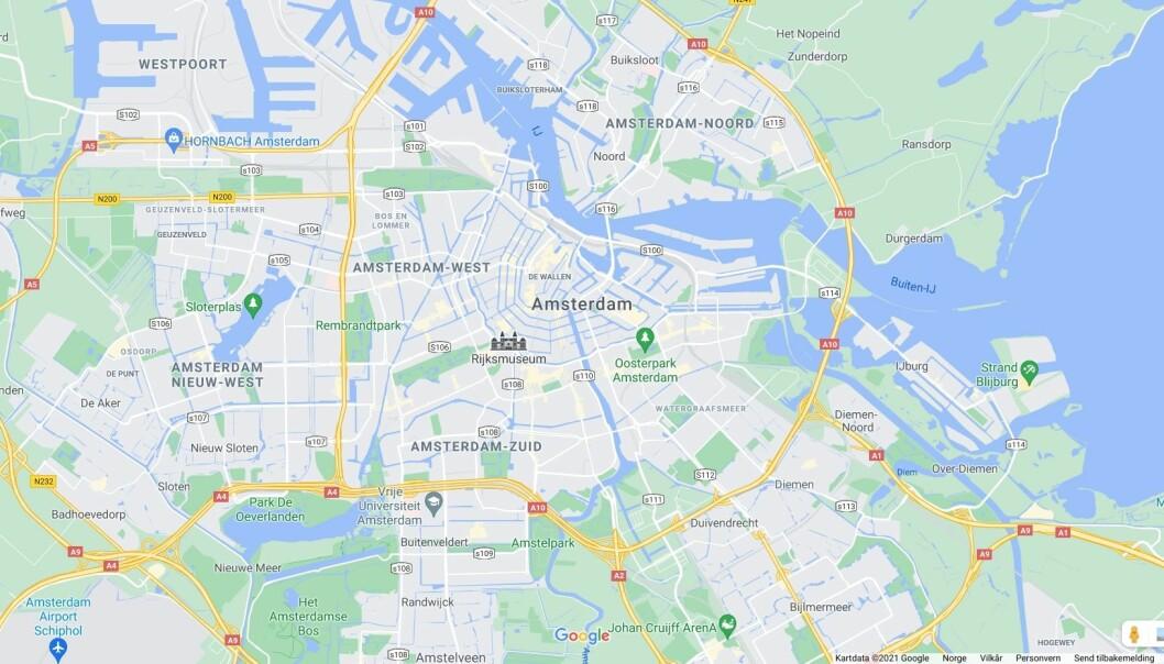 Kart over Amsterdam.
