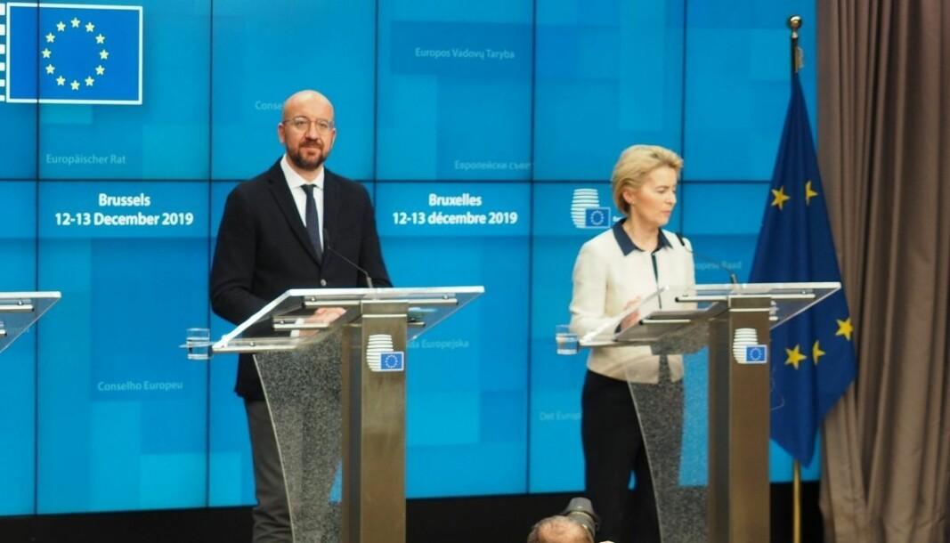 EU-president Charles Michel (til venstre) avbildet med Europakommisjonens president, Ursula von der Leyen.