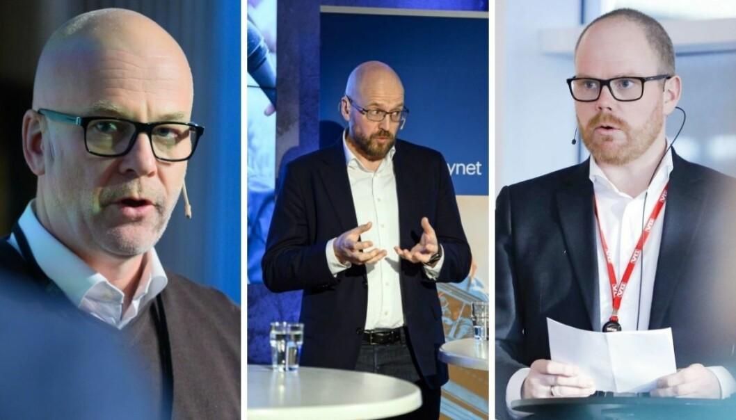 NRK-sjef Thor Gjermund Eriksen (fra venstre), Amedia-direktør Pål Nedregotten og VGs sjefredaktør Gard Steiro har alle tre gått sammen om et nei til Facebook.
