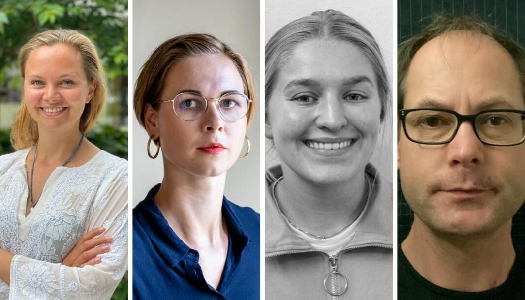 Fra venstre: Påtroppende nyhetsredaktør Andrea Rognstrand, nyhetsjeger Vilde Skorpen Wikan, journalist Sunniva Berggren Kaalaas og sikkerhetspolitisk reporter Mikal Hverven Hem.
