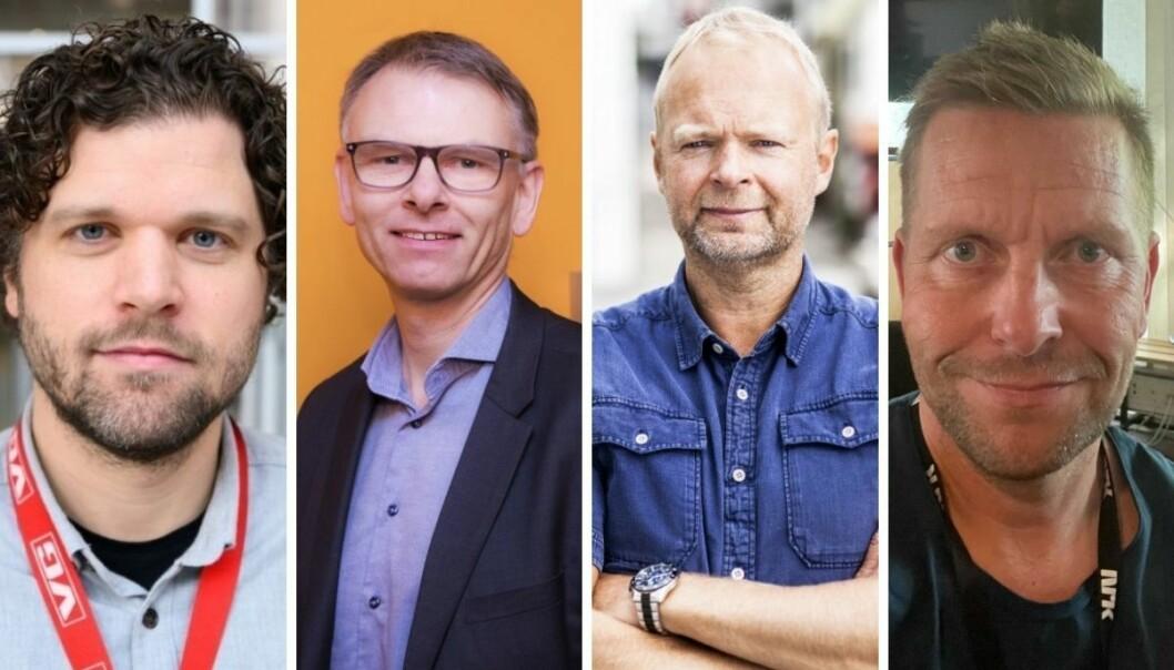 Sportssjef i VG, Eirik Borud, sportssjef i NTB, Ole Kristian Bjellaanes, sportsjef i TV 2, Vegard Jansen Hagen, og Thorbjørn Sarre-Jensen, redaksjonssjef i NRK-sporten.