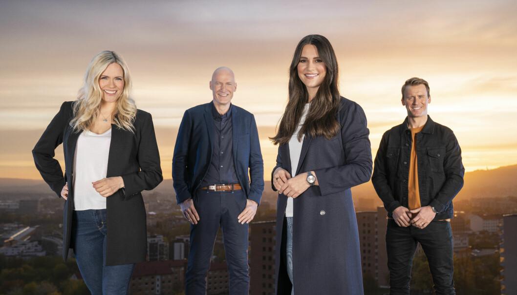 TV 2 og NRK delte på EM-rettighetene. Carina Olset (NRK), Erik Thorstvedt (TV 2), Ingrid Halstensen (TV 2) og Carl-Erik Torp (NRK) var blant profilene som ledet sendingene.