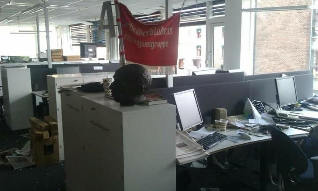 Slik så Dagsavisens lokaler ut etter 22. juli. Måtte lage avisen fra redaktørens leilighet