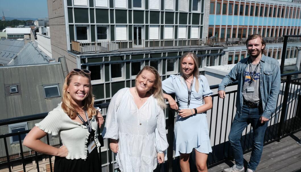 Dette er noen av Nettavisens sommervikarer i år. Fra venstre: Helle Svendsen, Cecilie Franck, Victoria Dreyer og Edvard Ertesvåg