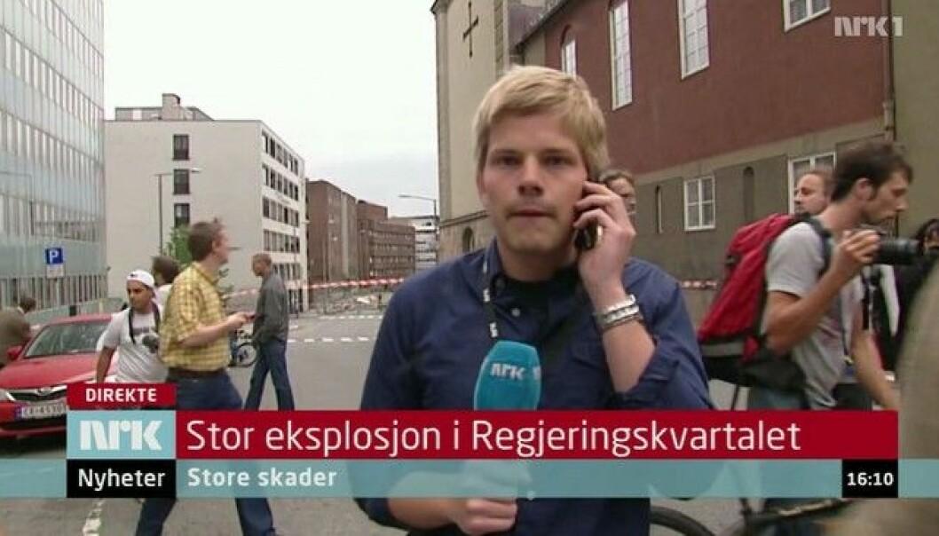 Peter Svaar var blant de første journalistene som kom til regjeringskvartalet etter bombeeksplosjonen 22. juli.