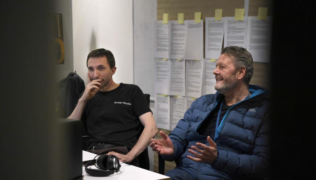Journalist Hans Petter Aas (t.h) og og redigerer Rune Vandvik har jobbet med podkasten «Savnet» for Stavanger Aftenblad. Journalist Elisabeth Risa har også jobbet med podkasten, men er ikke til stede på dette bildet.