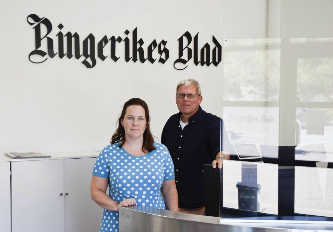 Frontredaktør i Ringerikes Blad, Mari Persson, og debattleder Øyvind Lien.