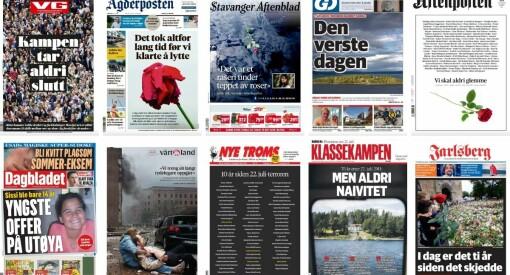Aviser over hele landet minnes 22. juli
