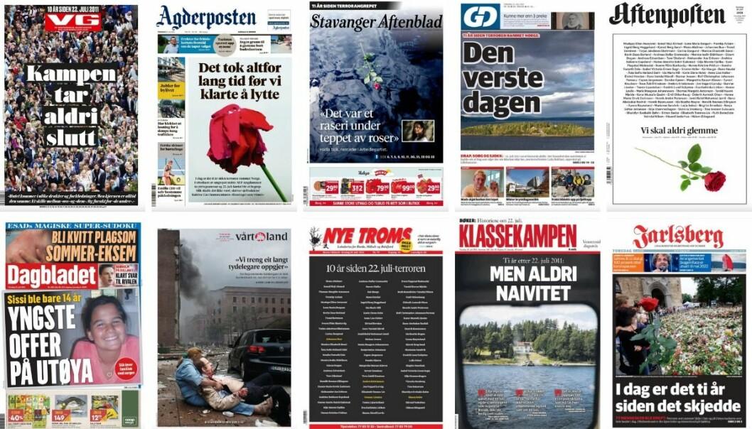Slik så noen av forsidene ut torsdag morgen, ti år etter angrepet.
