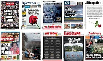 Aviserforsider over hele landet minnes 22. juli