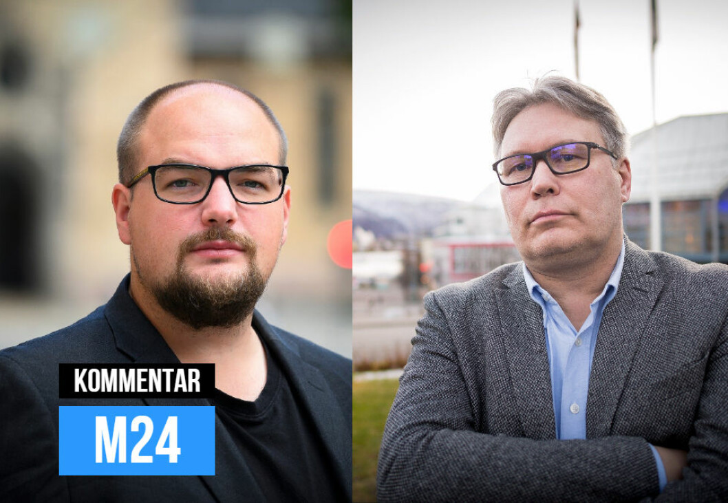 Ansvarlig redaktør Erik Waatland i Medier24 og politisk redaktør Skjalg Fjellheim i Nordlys