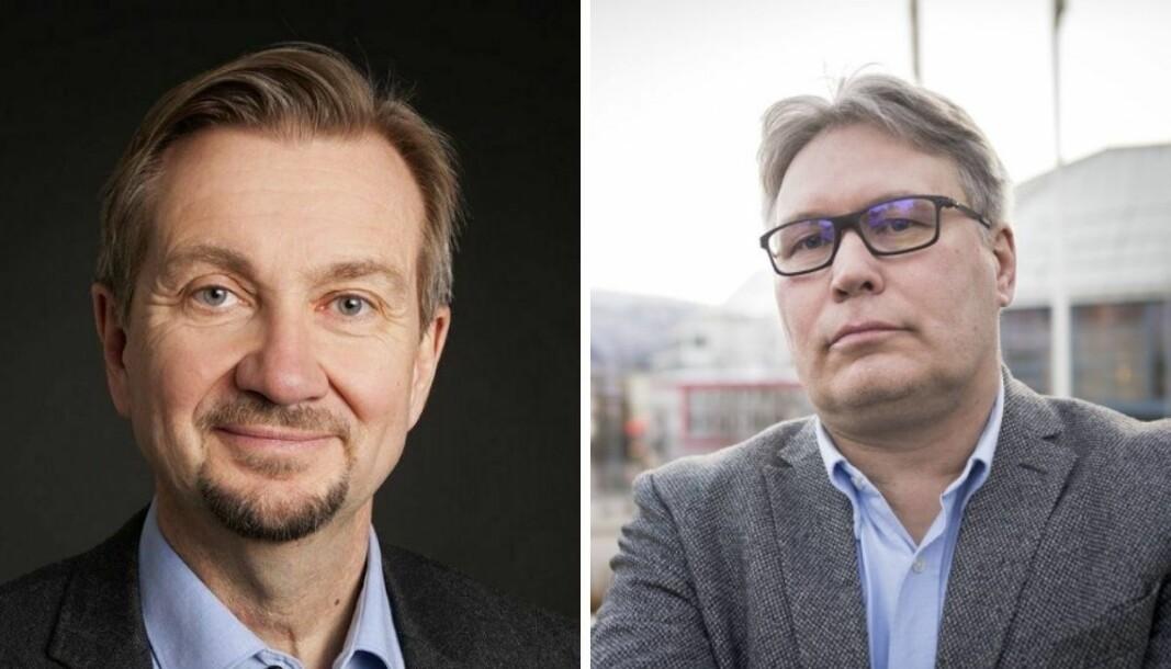 Fagmedarbeider ved Institutt for Journalistikk og mediekritisk spaltist i Medier24, Trygve Aas Olsen, og politisk redaktør Skjalg Fjellheim i Nordlys