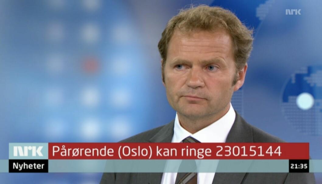 Knut Magnus Berge som kommentator under NRKs direktesending 22. juli 2011.