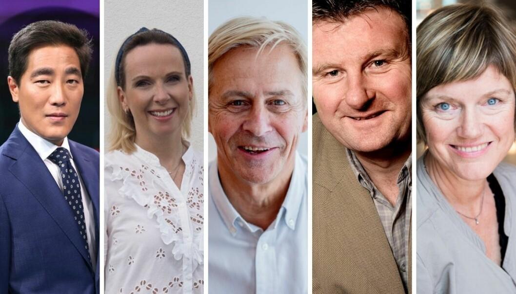 NRK-journalistene Fredrik Solvang, Cecilie Langum Becker, Anders Magnus, Jon Gelius og Sigrid Gjellan.