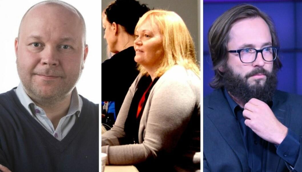 iFinnmark-redaktør Stian Eliassen (fra venstre) og Rana Blad-redaktør Marit Ulriksen ble felt i PFU onsdag, mens Filter-redaktør Harald Klungtveit gikk fri.