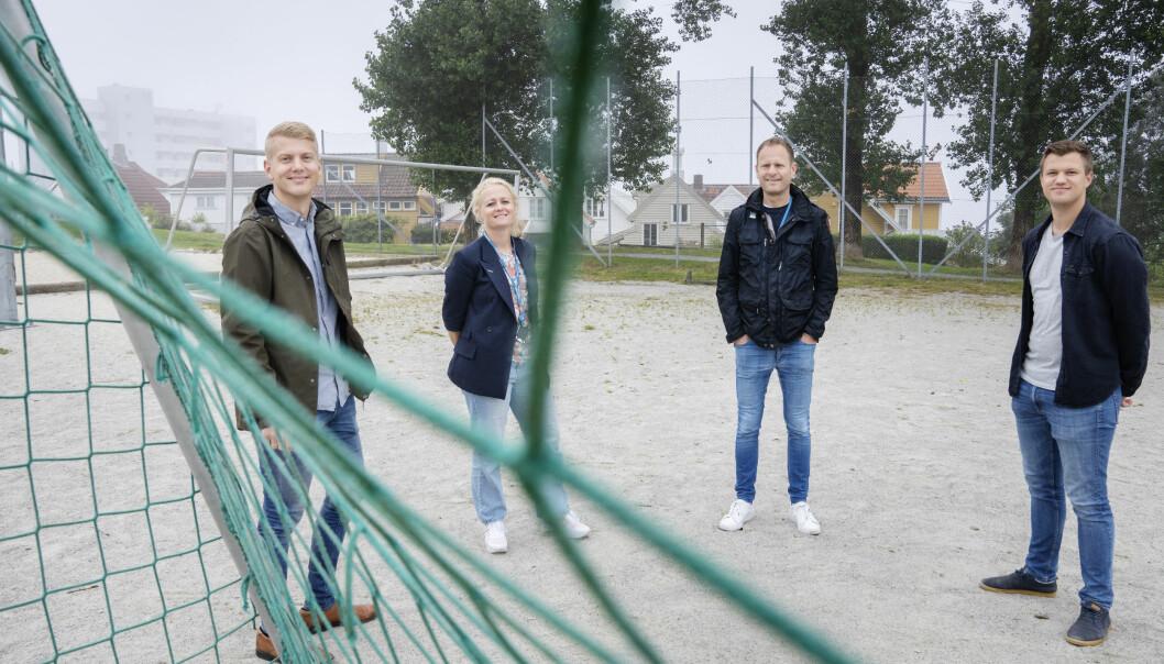 Aftenbladets Håkon Åreskjold (redaksjonell utvikler), Elin Stueland (prosjekteier), Stig Nilssen (sportsleder) og Mats Haugland (prosjektleder) har jobbet med satsingen.