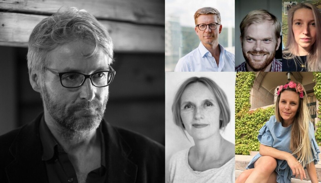 Øystein Lie (t.v) leder en av seriene i podkasten. Der møter han Svein Tore Bergstuen, Sveinung Uddu Ystad, Mona Grivi Norman, Kari Hesthamar og Trude Lorentzen.