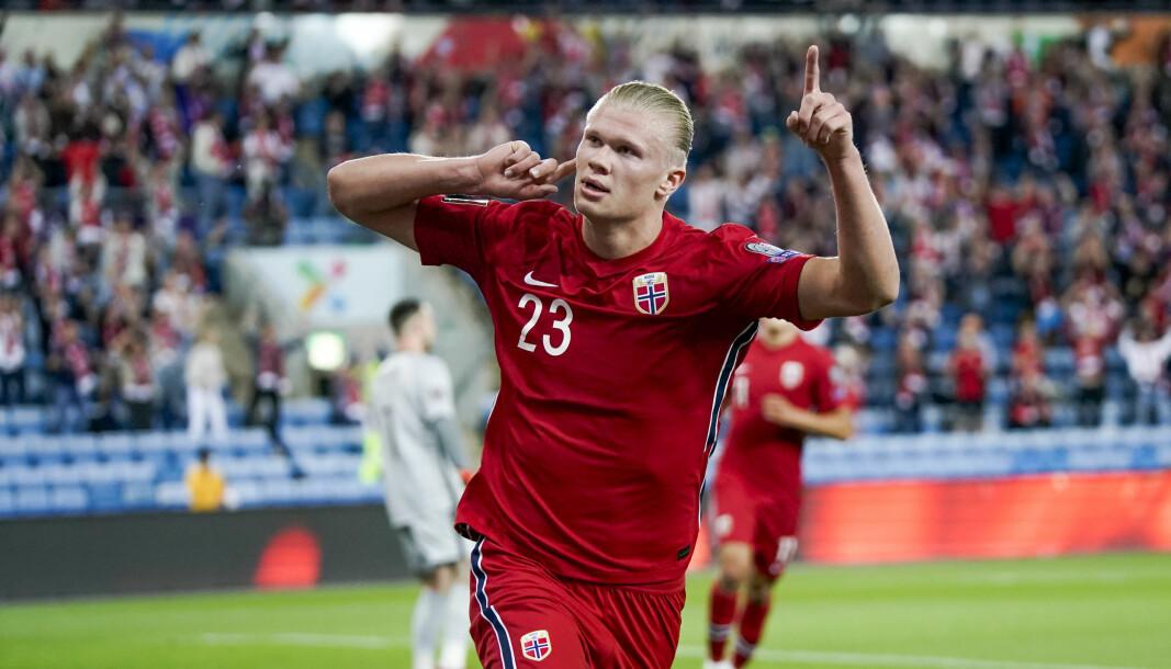 Erling Braut Haaland scoret Norges mål mot Nederland.