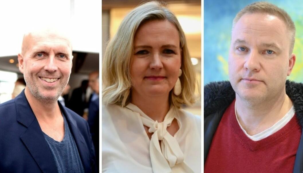 Tidligere Nettavisen-journalist Ole Eikeland (til venstre), Kapital-redaktør Vibeke Holth og Resett-redaktør Helge Lurås er alle med i den lukkede gruppen som DN har avslørt.