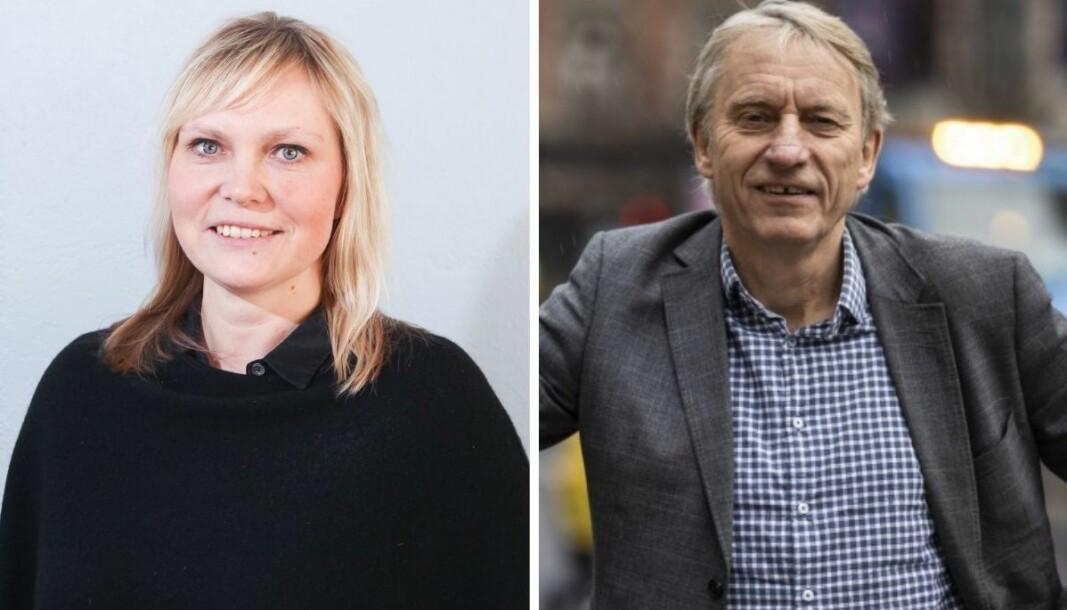Nordstrands Blad-redaktør Kristin Stoltenberg og Avisa Oslo-redaktør Magne Storedal.