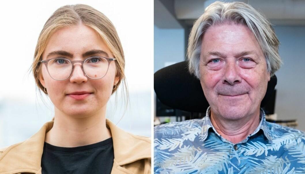 Hulda Holtvedt, nasjonal talsperson for Grønn Ungdom og politisk redaktør i Nettavisen, Erik Stephansen.