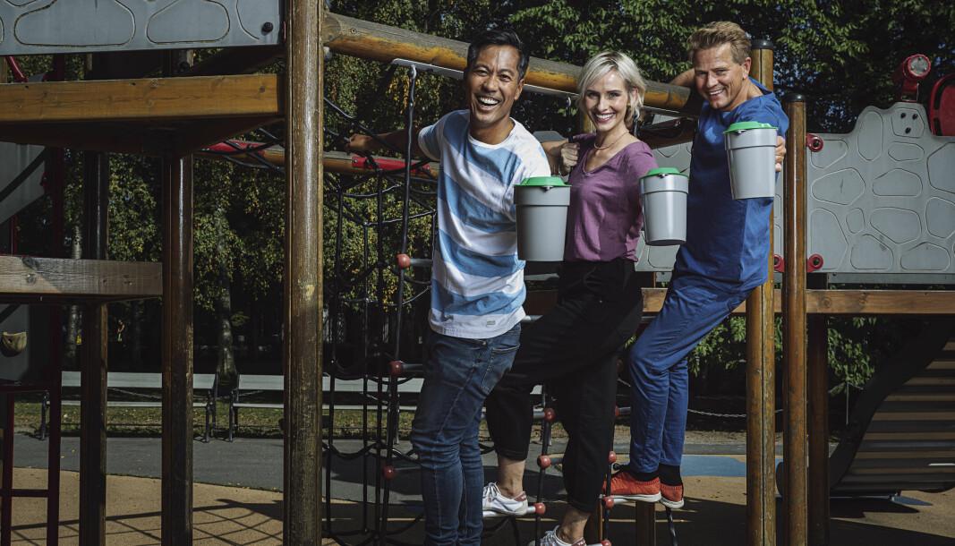 Christian Strand (fra venstre), Anne Rimmen og Robert Stoltenberg skal lede årets TV-aksjon på NRK.
