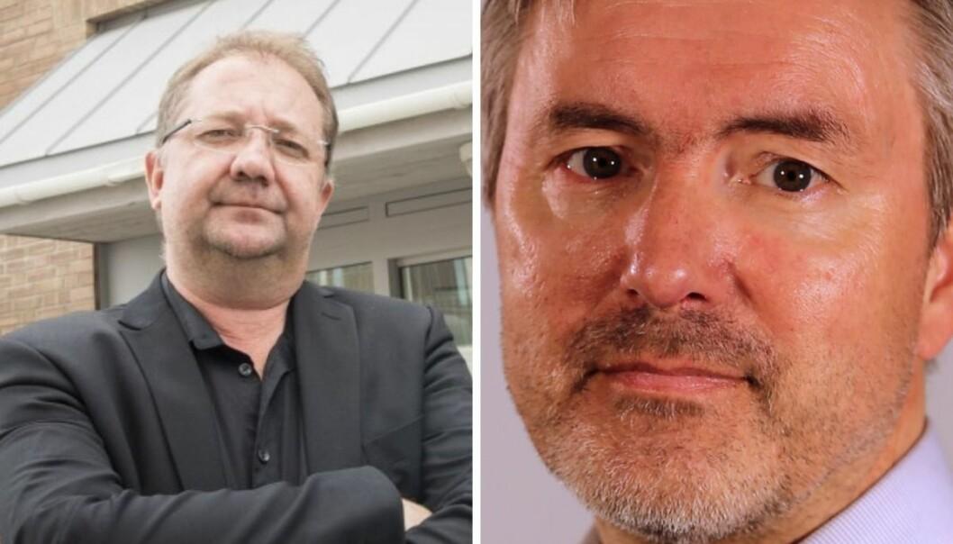 Kommunikasjonssjef ved Finnmarkssykehuset, Eirik Palm (til høyre), mener de måtte gjøre journalistene jobb. Altaposten-redaktør Rolf Edmund Lund beklager feilen.