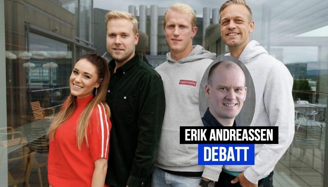 Ida Fladen, Jon Martin Henriksen, Erik Follestad og Mads Hansen i VGTVs program Spårtsklubben
