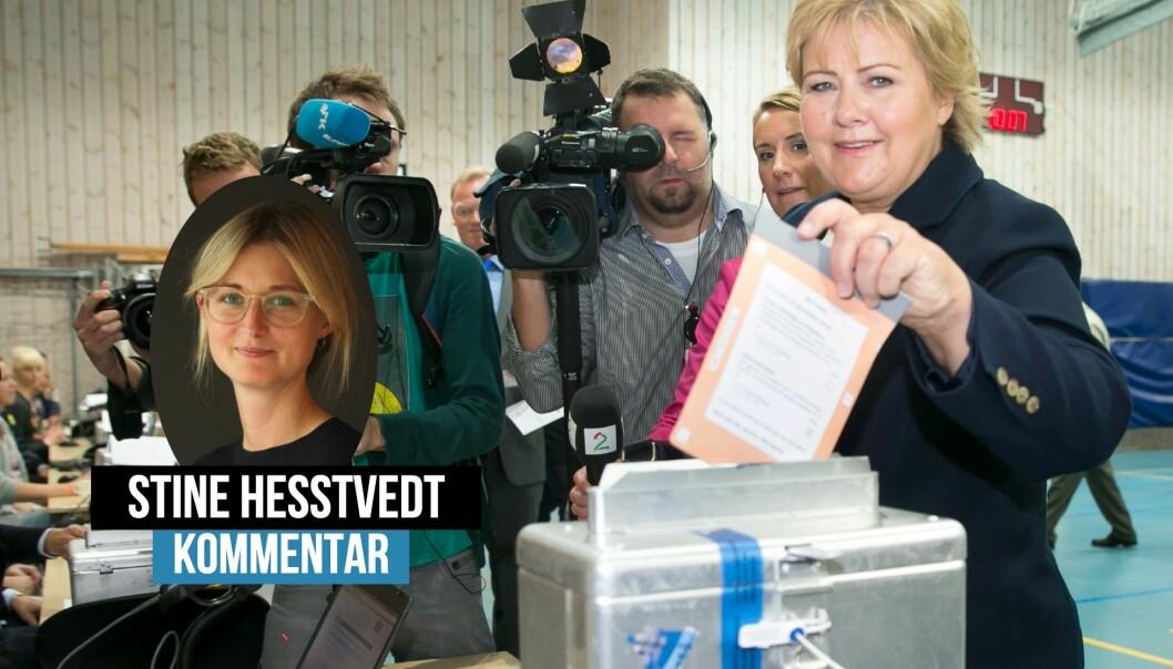 Pressen fulgte med da Erna Solberg stemte i 2013