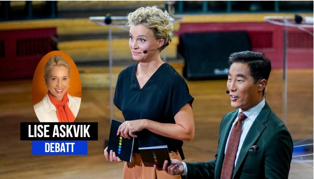 NRK-profilene Ingunn Solheim og Fredrik Solvang under Folkemøtet med statsministerkandidatene i Trondheim 2. september