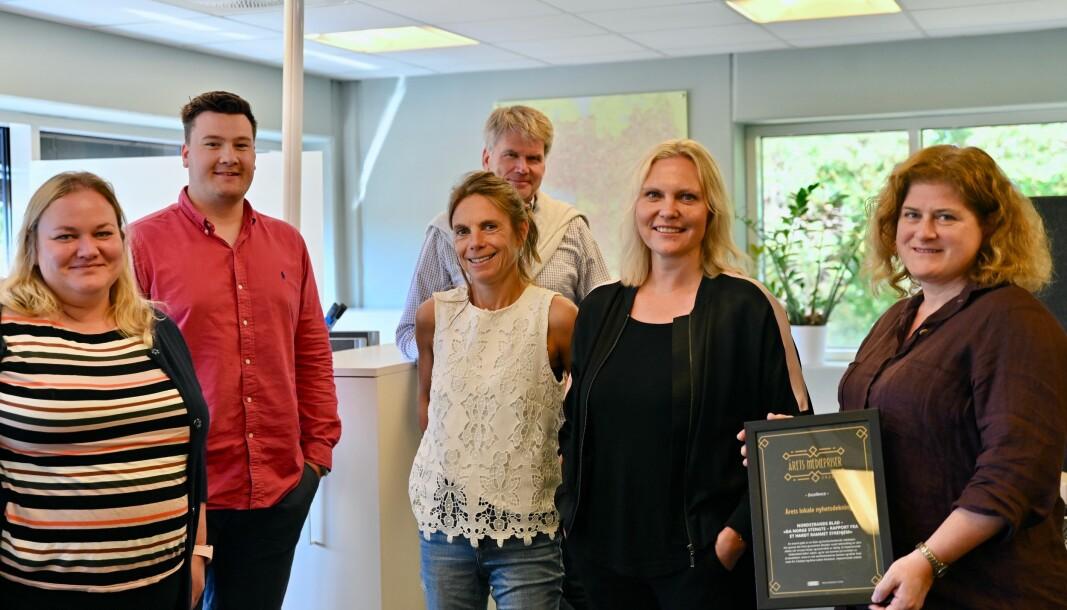 Nordstrands Blad har opplevd stor suksess den siste tiden. Fra venstre: Kristin Trosvik, Martin Thorland Jutkvam og Jan Erik Skau, Kirsti Ellefsen, Kristin Stoltenberg og Nina Schyberg Olsen.