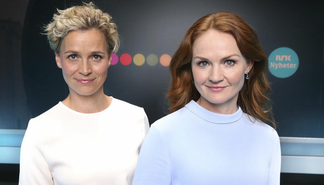 NRKs valgnattsending fikk gode seertall mandag kveld. Her er kanalen representert ved programlederne Ingunn Solheim og Åsa Vartdal.